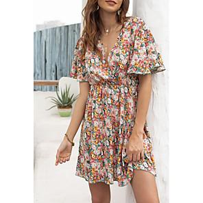 cheap Women's Heels-Women's A-Line Dress Knee Length Dress - Short Sleeves Floral Summer Casual 2020 Red S M L XL