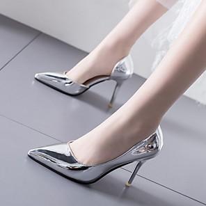cheap Women's Heels-Women's Heels Summer Stiletto Heel Pointed Toe Daily PU Black / Gold / Silver