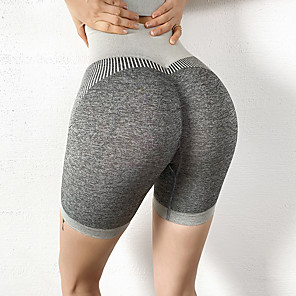 cheap Exercise, Fitness & Yoga Clothing-Women's High Waist Yoga Shorts Ruched Butt Lifting Shorts Butt Lift Breathable Black Gray Nylon Yoga Running Fitness Sports Activewear High Elasticity