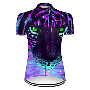 cheap Cycling Jerseys-21Grams Women's Short Sleeve Cycling Jersey Nylon Polyester Black / Green Gradient Animal Tiger Bike Jersey Top Mountain Bike MTB Road Bike Cycling Breathable Quick Dry Ultraviolet Resistant Sports