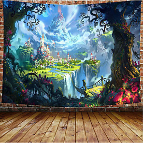 cheap Wall Tapestries-Wall Tapestry Art Decor Blanket Curtain Picnic Tablecloth Hanging Home Bedroom Living Room Dorm Decoration Cartoon Fairy Tale Castle Forrest Mountain