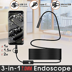 cheap CCTV Cameras-TYPE C USB Mini Endoscope Camera 7mm 1M 2M Flexible Hard Cable Snake Borescope Inspection Camera for Android Smartphone PC