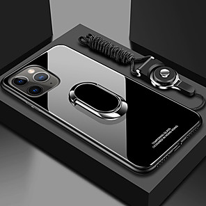 cheap iPhone Cases-Case for iPhone 11Pro Max Tempered Glass Back Cover Mobile Phone Case XS Max With Ring Bracket With Lanyard Magnetic Suction iPhone 6 7 8Plus SE 2020 Protective Case