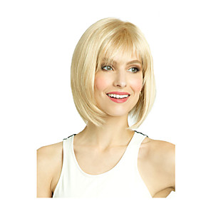 cheap Synthetic Trendy Wigs-Synthetic Wig Straight Middle Part With Bangs Wig Short Light golden Synthetic Hair 10 inch Women's Fashionable Design Classic Women Blonde
