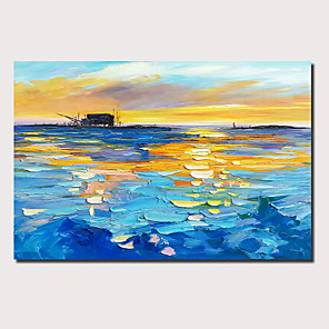 cheap LED Strip Lights-Oil Painting Hand Painted - Abstract Landscape Comtemporary Modern Stretched Canvas