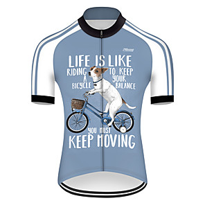 cheap Cycling Jerseys-21Grams Men's Short Sleeve Cycling Jersey Nylon Polyester Blue / White Dog Animal Funny Bike Jersey Top Mountain Bike MTB Road Bike Cycling Breathable Quick Dry Ultraviolet Resistant Sports Clothing