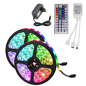 cheap LED Strip Lights-10M(2*5M) Waterproof Flexible LED Strip Lights RGB Tiktok Lights 2835 600LEDs 8mm 44Keys IR Remote Controller