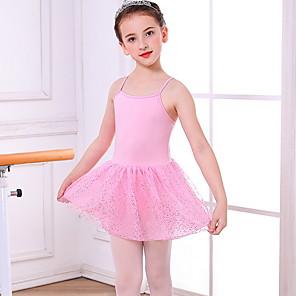 cheap Ballet Dancewear-Kids' Dancewear Gymnastics Dress Ruching Girls' Training Daily Wear Polyester