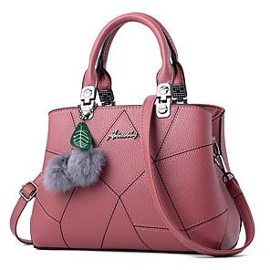 cheap Handbag & Totes-Women's Bags PU Leather Top Handle Bag Zipper / Pom-pom for Daily Wine / Black / Blue
