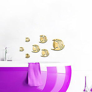 cheap Wall Stickers-7PCS Fish Acrylic 3D Mirror Wall Stickers Decorative For Kid