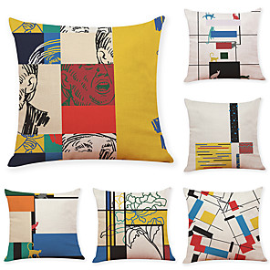 cheap Throw Pillow Covers-6 pcs Linen Pillow Cover, Geometric Pattern Casual Modern Square Traditional Classic
