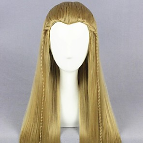 cheap Costume Wigs-Cosplay Wig Legolas The Lord of the Rings Straight Cosplay Halloween Braid Wig Long Light Blonde Synthetic Hair 25 inch Men's Anime Cosplay Best Quality Blonde