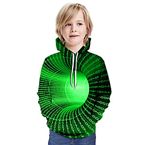 cheap Abstract Paintings-Kids Boys' Active Street chic 3D Patchwork Print Long Sleeve Hoodie & Sweatshirt Purple