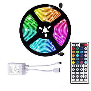 cheap LED Strip Lights-LED Strip Light 16.4ft 5M SMD 5050 RGB 300leds 10mm Strips Lighting Flexible Color Changing with 44 Key IR Remote Ideal for Home Kitchen Christmas TV Back Lights DC 12V
