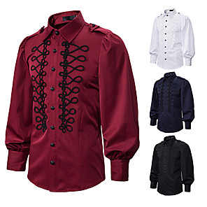 cheap Historical & Vintage Costumes-Prince Vintage Medieval Renaissance Blouse / Shirt Masquerade Men's Costume White / Black / Red Vintage Cosplay Event / Party Long Sleeve