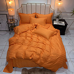 cheap Solid Duvet Covers-Luxury Satin Strip Silky 4-Piece Bed Sheet Set Duvet Cover Set