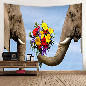 cheap Wallpaper-Elephant is in Love Digital Printed Tapestry Decor Wall Art Tablecloths Bedspread Picnic Blanket Beach Throw Tapestries Colorful Bedroom Hall Dorm Living Room Hanging
