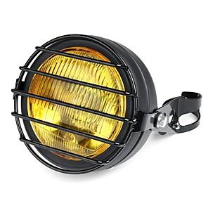 cheap Motorcycle Lighting-12V 6.5 Inch 35W Retro Vintage Motorcycle Halogen Headlamp High/Low Beam Set Metal Amber Lamp