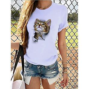 economico Maglie donna-Per donna maglietta Pop art 3D Con stampe Rotonda Top 100% cotone Essenziale Top basic Panda Marrone