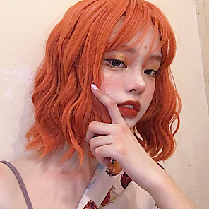 cheap Synthetic Trendy Wigs-Synthetic Wig Curly With Bangs Wig Short Orange Synthetic Hair 12 inch Women's Simple Life Women Red