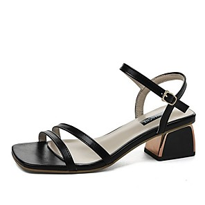 cheap Women's Sandals-Women's Sandals Summer Pumps Open Toe Daily PU Black / Beige