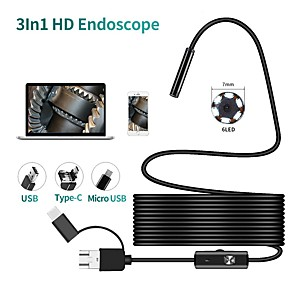 cheap Smartwatches-TYPE C USB Mini Endoscope Camera 7mm 2m 1m 1.5m Flexible Hard Cable Snake Borescope Inspection Camera for Android Smartphone PC