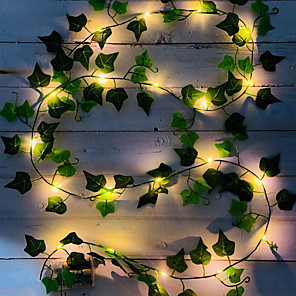 cheap LED String Lights-2M 20LED Artificial Fake Creeper Green Leaf Ivy Vine LED String Lights Battery Operated Fairy Light Wedding Birthday Garden Party Family Party Room Decoration Without Battery