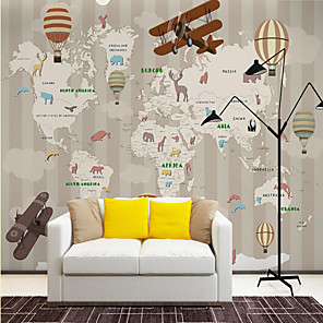 cheap Wallpaper-Custom Self-adhesive Mural Wallpaper Children Cartoon Map Suitable for Background Wall Coffee Shop Hotel Wall Decoration Art  Home Decoration