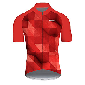 cheap Cycling Jersey & Shorts / Pants Sets-21Grams Men's Short Sleeve Cycling Jersey Nylon Polyester Red Plaid Checkered 3D Gradient Bike Jersey Top Mountain Bike MTB Road Bike Cycling Breathable Quick Dry Ultraviolet Resistant Sports