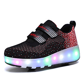 cheap Kids' LED Shoes-Boys' / Girls' Sneakers USB Charging Mesh Heelys Shoes Little Kids(4-7ys) / Big Kids(7years +) Walking Shoes Polka Dot Black / Pink Spring / Fall / TPR (Thermoplastic Rubber)