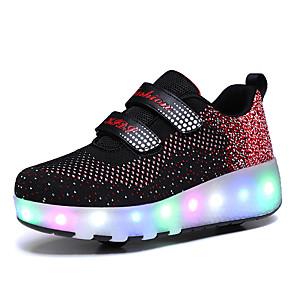 رخيصةأون أحذية مع LED-للصبيان / للفتيات شحن USB شبكة أحذية رياضية الأطفال الصغار (4-7 سنوات) / الأطفال الصغار (7 سنوات +) المشي منقط أسود / زهري الربيع / الخريف