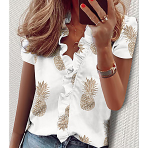 cheap Women's Sandals-Women's Shirt Solid Colored Ruffle Print Tops Elegant V Neck White Black Blushing Pink / Short Sleeve / Spring / Summer / Holiday