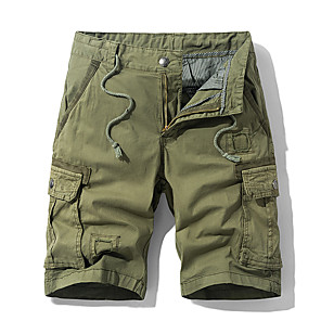 "cheap Hiking Trousers & Shorts-Men's Hiking Shorts Hiking Cargo Shorts Summer Outdoor 10"" Standard Fit Breathable Quick Dry Sweat-wicking Multi-Pocket Cotton Shorts Bottoms Black Army Green Blue Khaki Camping / Hiking Hunting"