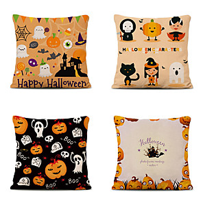 cheap Throw Pillow Covers-Set of 4 Halloween Night Linen Square Decorative Throw Pillow Cases Sofa Cushion Covers