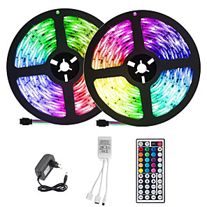 cheap LED Strip Lights-ZDM 2x5M LED Light Strips RGB Tiktok Lights 300 X 2835 SMD 8mm LEDs with IR 44 Key Double Outlet Controller DC12V