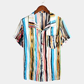 cheap Latin Dancewear-Men's Holiday Shirt Rainbow Graffiti Print Short Sleeve Tops Tropical Hawaiian Classic Collar Blue Red / Beach