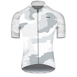 cheap Cycling Jerseys-21Grams Men's Short Sleeve Cycling Jersey Nylon Polyester Gray+White Polka Dot Camo / Camouflage Bike Jersey Top Mountain Bike MTB Road Bike Cycling Breathable Quick Dry Ultraviolet Resistant Sports