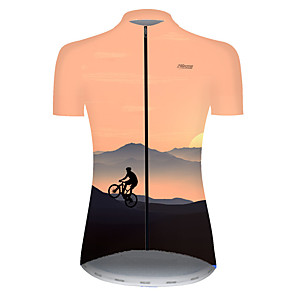 cheap Cycling Jerseys-21Grams Women's Short Sleeve Cycling Jersey Nylon Polyester Black / Yellow 3D Gradient Bike Jersey Top Mountain Bike MTB Road Bike Cycling Breathable Quick Dry Ultraviolet Resistant Sports Clothing