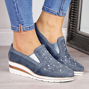 cheap Women's Sandals-Women's Loafers & Slip-Ons Wedge Heel Round Toe Suede Summer Pink / Blue / Gray