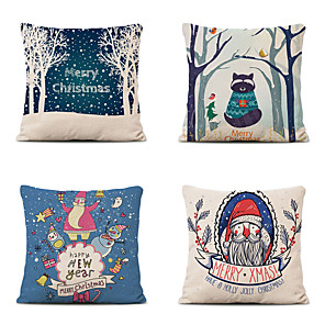 cheap Throw Pillow Covers-Set of 4 Christmas Pillow Covers Cotton Linen Santa Tree Reindeer Holiday Christmas Decoration
