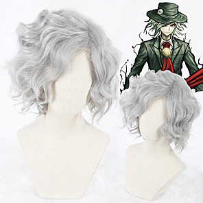 cheap Costume Wigs-Cosplay Wig Edmond Dantes Gankutsuou Fate / Stay Night Curly Cosplay Asymmetrical Wig Short Grey Synthetic Hair 14 inch Men's Anime Cosplay New Design Gray