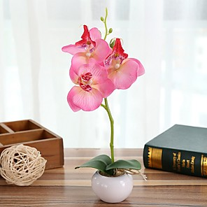 cheap Artificial Plants-Three Round Phalaenopsis Bonsai With Ceramic Holder Whole H28cm, Holder H4.5cm