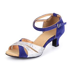 cheap Latin Shoes-Women's Dance Shoes Latin Shoes Heel Paillette Cuban Heel Customizable Black / Blue / Performance / Leather / Practice