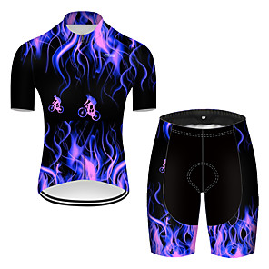 cheap Cycling Jerseys-21Grams Men's Short Sleeve Cycling Jersey with Shorts Nylon Polyester Black / Blue 3D Lightning Gradient Bike Clothing Suit Breathable 3D Pad Quick Dry Ultraviolet Resistant Reflective Strips Sports