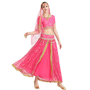 זול נעלי עקב לנשים-ריקוד בטן חצאיות תחרה בגדי ריקוד נשים הדרכה הצגה שרוולים קצרים טבעי פוליאסטר