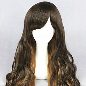 cheap Costume Wigs-Cosplay Wig Lolita Curly Cosplay Halloween With Bangs Wig Long Brown Synthetic Hair 25 inch Women's Anime Cosplay Soft Brown