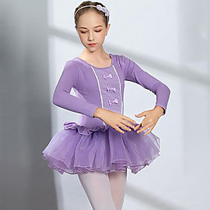 cheap Kids' Dancewear-Ballet Dress Lace Bow(s) Ruching Girls' Training Performance Long Sleeve High Spandex Lace Tulle