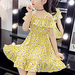 cheap Abstract Paintings-Kids Girls' Cute Daisy Floral Print Sleeveless Knee-length Dress Yellow