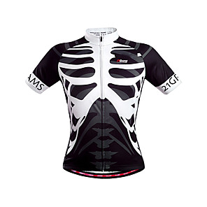 cheap Cycling Jerseys-21Grams Men's Unisex Short Sleeve Cycling Jersey Polyester Black / White Skeleton Bike Jersey Top Mountain Bike MTB Road Bike Cycling Breathable Quick Dry Back Pocket Sports Clothing Apparel