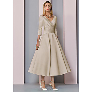 cheap Latin Dancewear-A-Line Mother of the Bride Dress Elegant Vintage Plus Size V Neck Tea Length Satin 3/4 Length Sleeve with Pleats 2020 Mother of the groom dresses